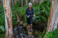 Di negotiates the Paperbark walk -Agnes Waters