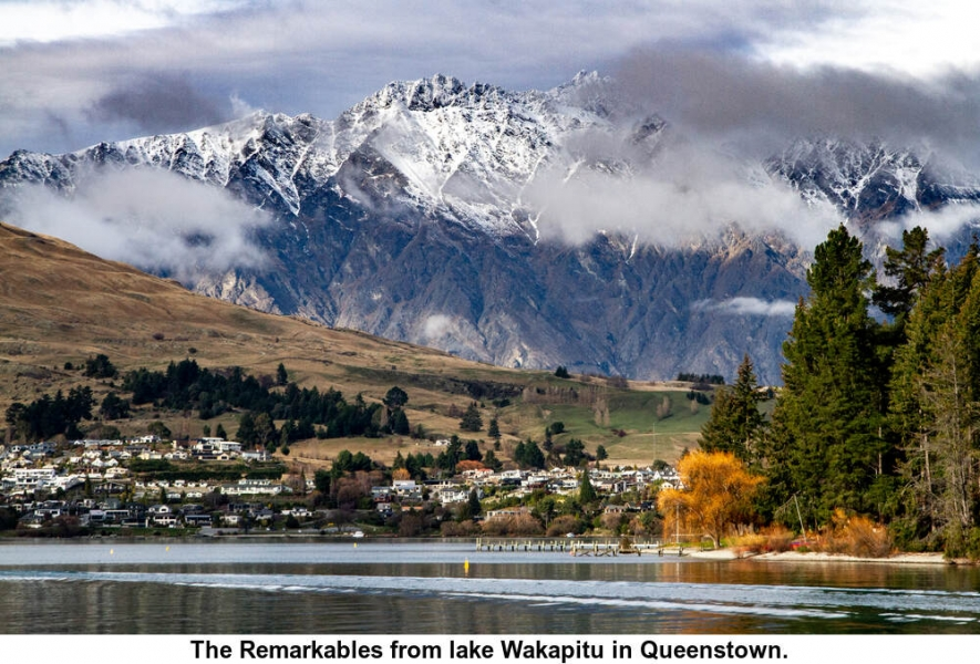 The Remarkables from lake Wakapitu in Queenstown.
